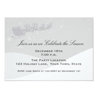 Santa Sleigh, Winter Scene, Holiday Party Card