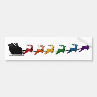 Santa Sleigh with Rainbow Reindeer Bumper Sticker