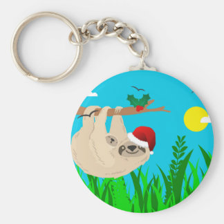 santa sloth keychain