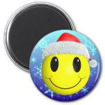 Santa Smiley 2 Inch Round Magnet