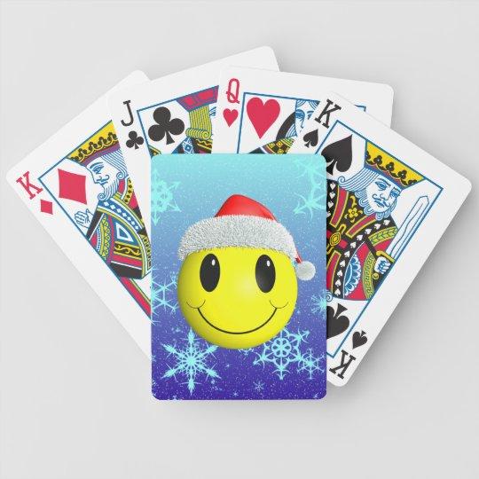 Santa Smiley Bicycle Playing Cards