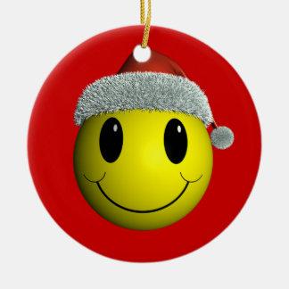 Santa Smiley Ceramic Ornament