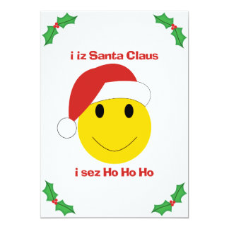 "Santa Smiley Christmas cards and gifts. 5"" X 7"" Invitation Card"