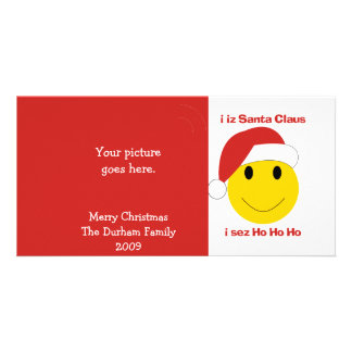 Santa Smiley Christmas cards and gifts. Photo Card Template