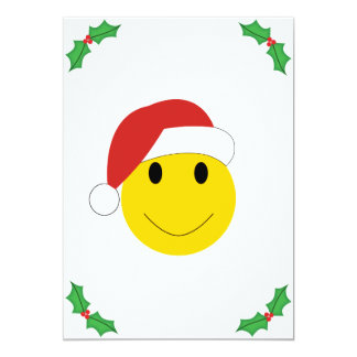 "Santa Smiley Holiday cards and gifts. 5"" X 7"" Invitation Card"