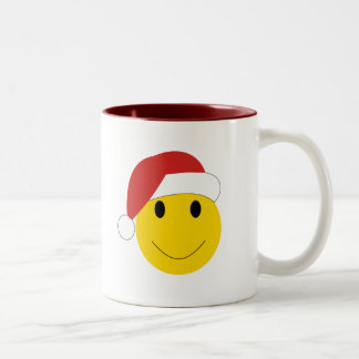 Santa Smiley Holiday cards and gifts. Two-Tone Coffee Mug