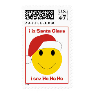 Santa Smiley sez ho ho ho Christmas stamps