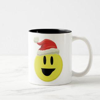 Santa Smiley Two-Tone Coffee Mug