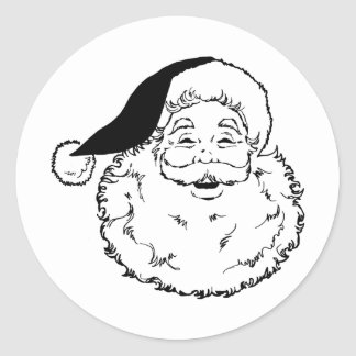 Santa Smiling Classic Round Sticker