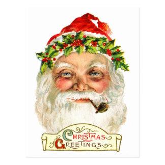 Santa Smoking A Pipe Postcard