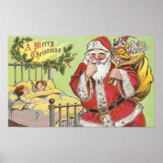 Santa Sneaks By Sleeping Kids Vintage Christmas Poster