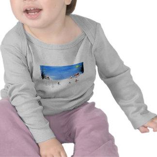 santa snow scene on infant onsie tee shirts