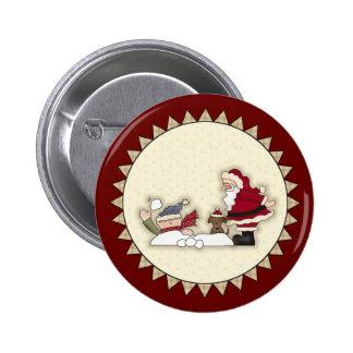 Santa Snowball Fight Christmas Button