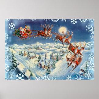 SANTA SNOWFLAKES & SLEIGH by SHARON SHARPE Poster