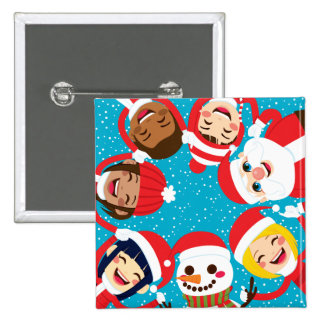 Santa Snowman And Children Holding Hands 2 Inch Square Button