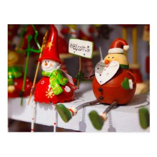 Santa Snowman Holiday Figurines Christmas Decor Postcard