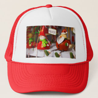 Santa Snowman Holiday Figurines Christmas Decor Trucker Hat