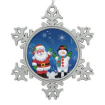 Santa & Snowman Pewter Snowflake Ornament