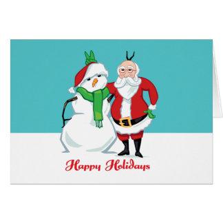 Santa Snowman Photo Card