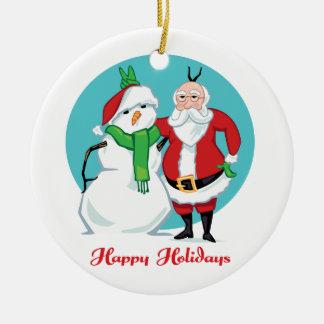 Santa Snowman Photo Ceramic Ornament