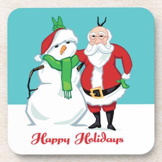 Santa Snowman Photo Drink Coaster
