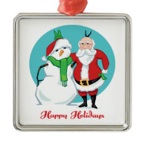 Santa Snowman Photo Metal Ornament