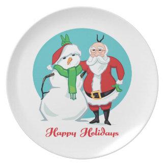 Santa Snowman Photo Plate