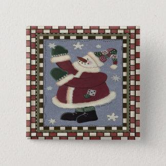 Santa Snowman Pinback Button