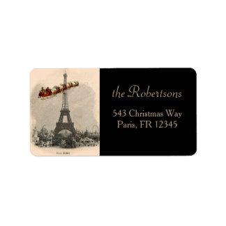 Santa sobre etiqueta del navidad de París Etiquetas De Dirección