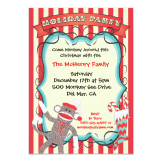Santa Sock Monkey Christmas Party Invitation