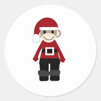 Santa Sock Monkey Classic Round Sticker