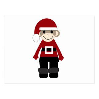 Santa Sock Monkey Postcard