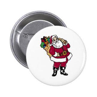 Santa sostiene los juguetes pin redondo de 2 pulgadas