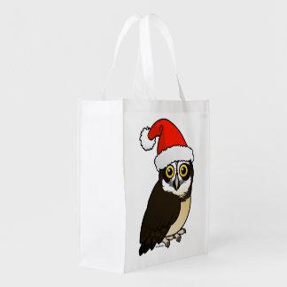 Santa Spectacled Owl Grocery Bag