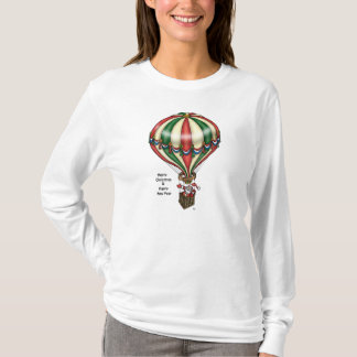 Santa Spreads Good Cheer from Hot Air Balloon T-Shirt