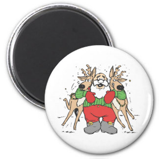Santa Squeezing two Reindeer's 2 Inch Round Magnet