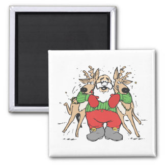 Santa Squeezing two Reindeer's 2 Inch Square Magnet