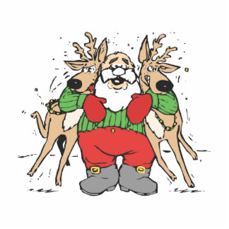 Santa Squeezing two Reindeer's Cutout