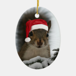 Santa Squirrel Ceramic Ornament