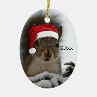 Santa Squirrel DATED Ceramic Ornament