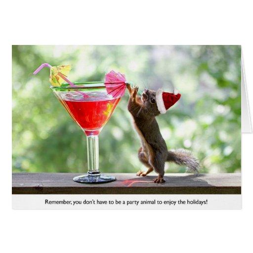 Santa Squirrel Drinking a Cocktail Greeting Card