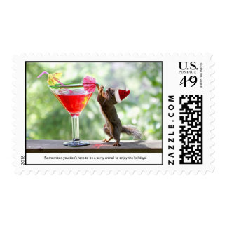 Santa Squirrel Drinking a Cocktail Postage Stamps
