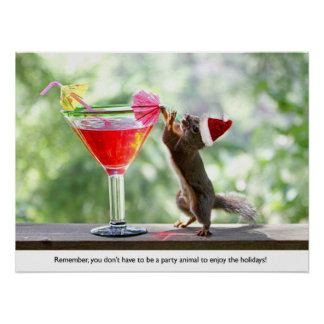 Santa Squirrel Drinking a Cocktail Poster
