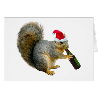 Santa Squirrel Drinking Beer Greeting Card