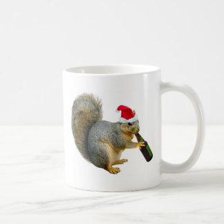Santa Squirrel Drinking Beer Coffee Mug