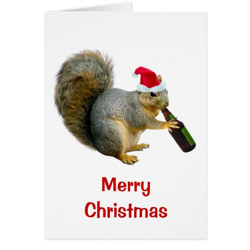 Santa Squirrel Drinking Beer Greeting Cards