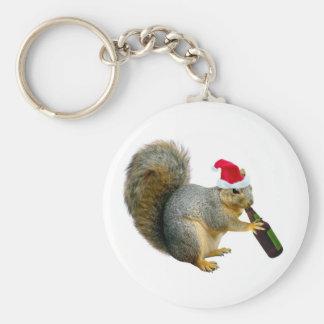 Santa Squirrel Drinking Beer Keychain