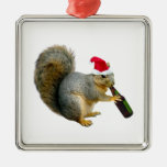 Santa Squirrel Drinking Beer Square Metal Christmas Ornament