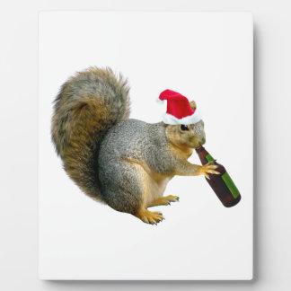 Santa Squirrel Drinking Beer Display Plaque
