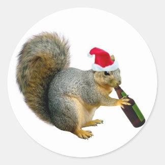 Santa Squirrel Drinking Beer Stickers